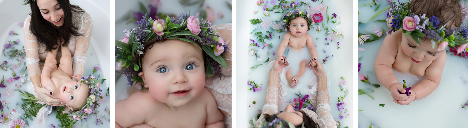 cute child getting photographed in bathtub surrounded by flowers