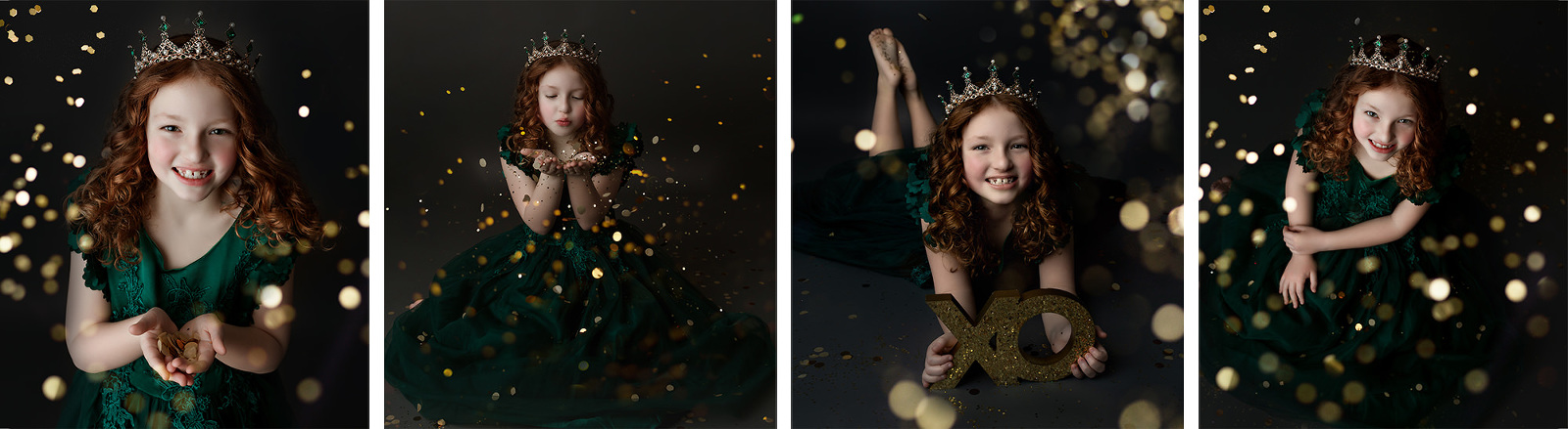 cute girl throwing glitter during a photoshoot